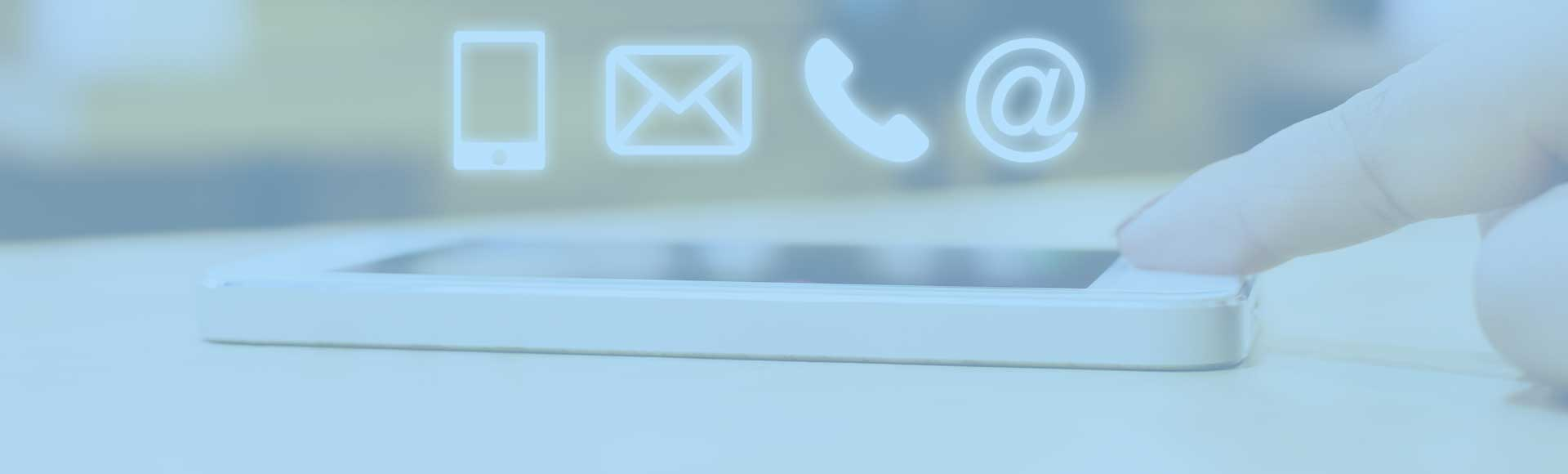 A mobile phone with icons for email and phones above it