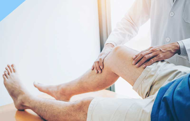 A Person receiving knee treatment