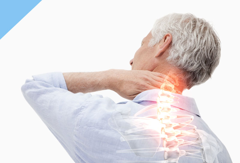 A person suffering from upper back pain